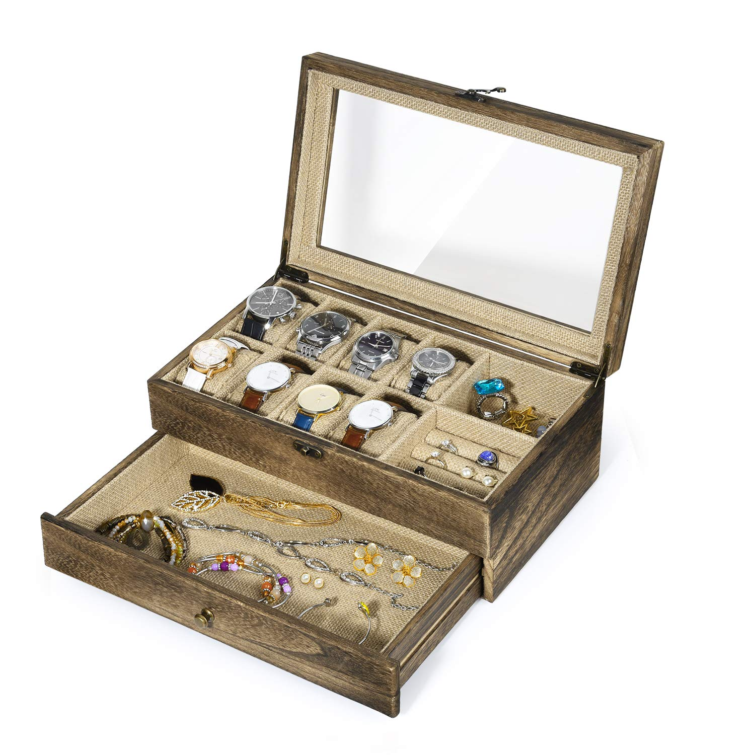 SRIWATANA Watch Box Case, Rustic Solid Wood Watch Organizer, 10 Versatile Slots for Watch, Ring, Bracelet