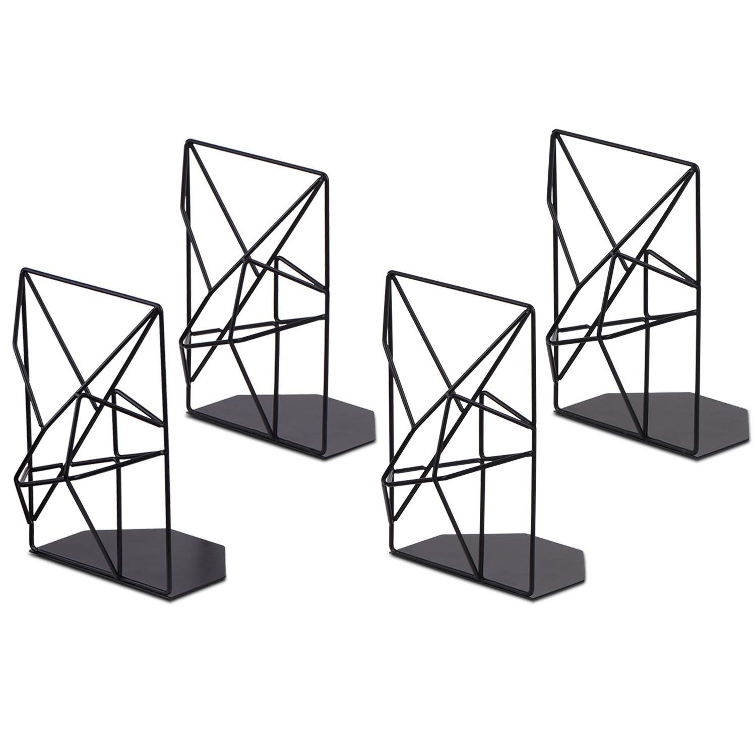 SRIWATANA Book ends Black, Decorative Metal Bookends for Shelves(2 Pairs/4 Pieces)
