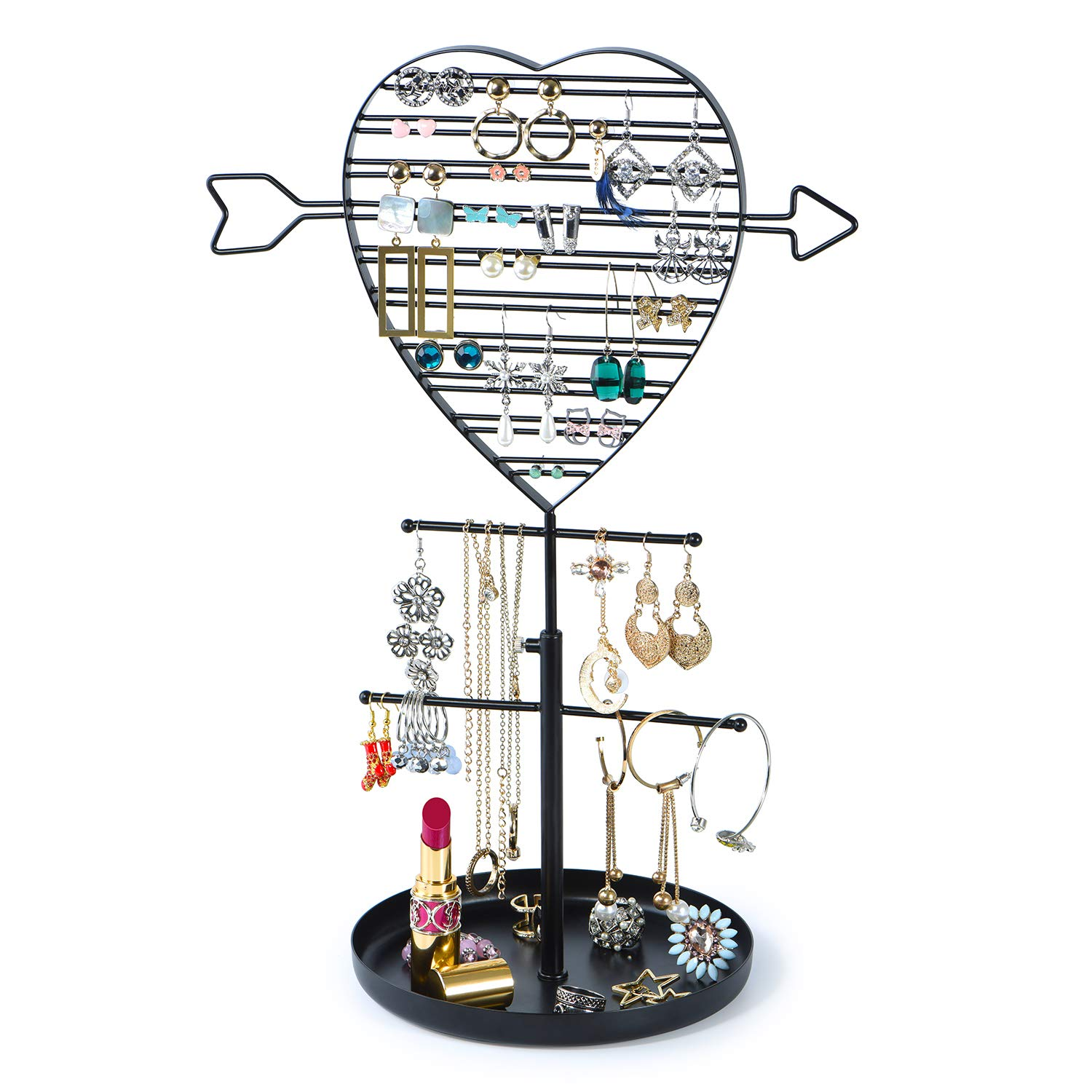 SRIWATANA Jewelry Holder Organizer, Earring Holder Tree, Metal Earring Organizer with Cupid's Arrow Design(Black)