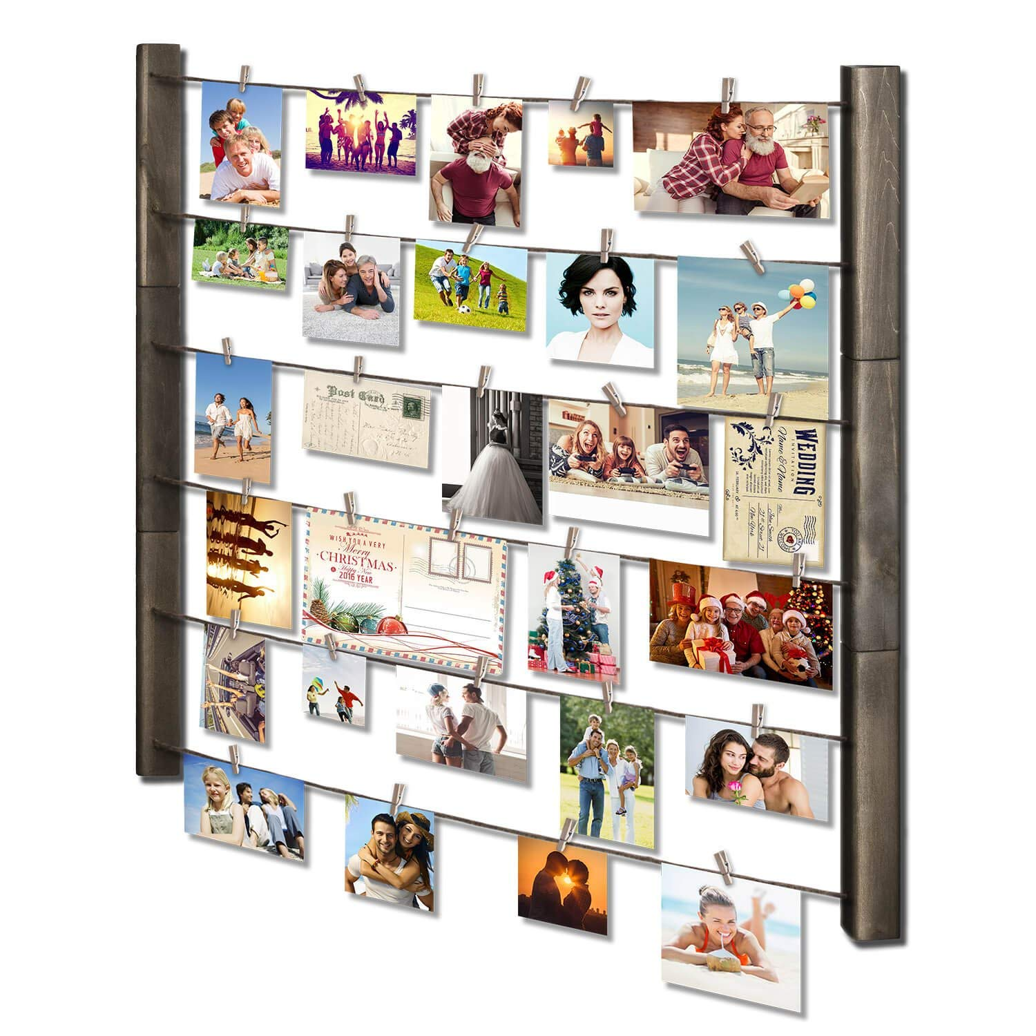 SRIWATANA Wood Picture Frame Collage for Multi Photo Display Wall Decor 30'' x 26 with 36 Clips - Vertical & Horizontal Display(Weathered Grey)