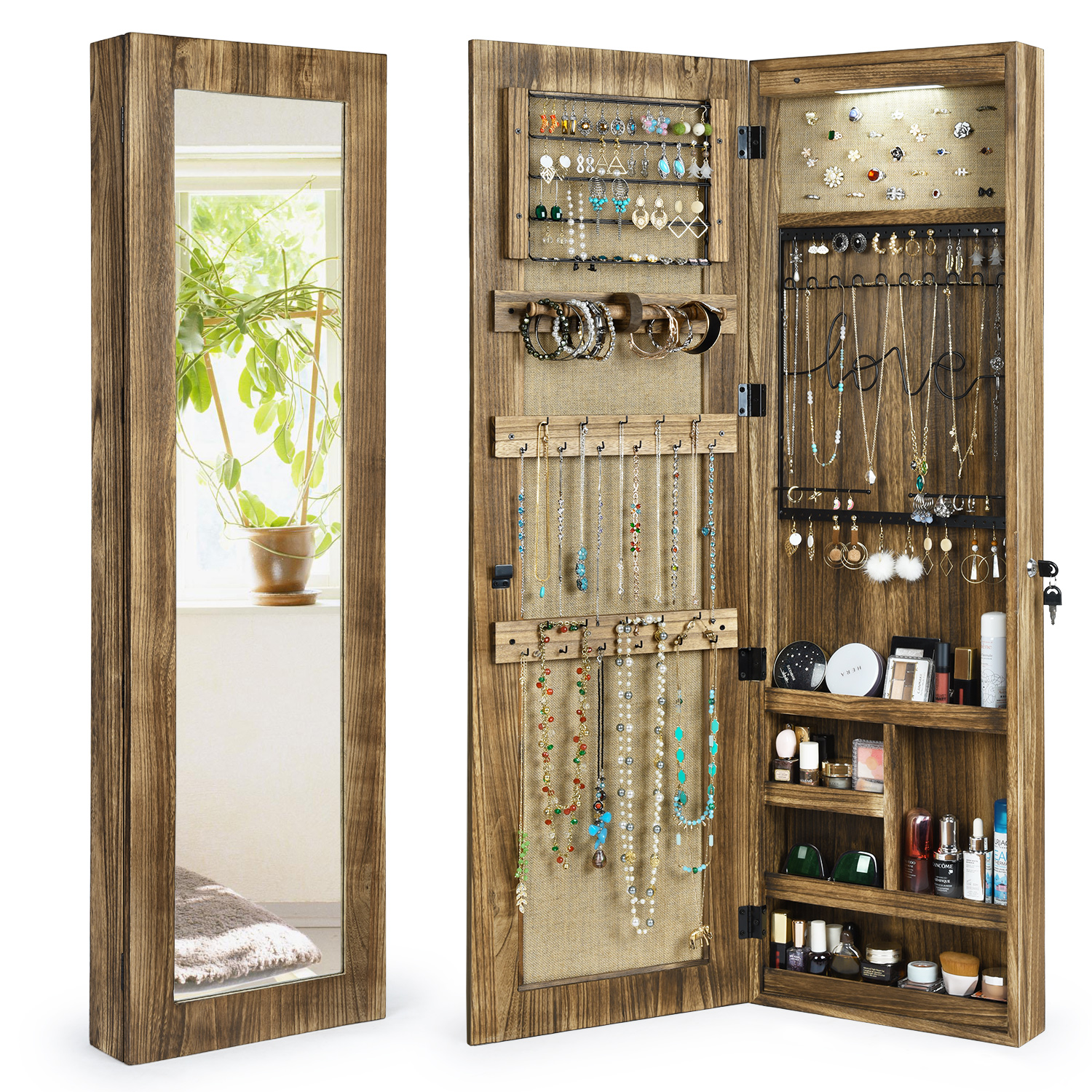 Jewelry Armoire Cabinet, Solid Wood Jewelry Organizer with Full Length Mirror Wall/Door Mounted(Carbonized Black)