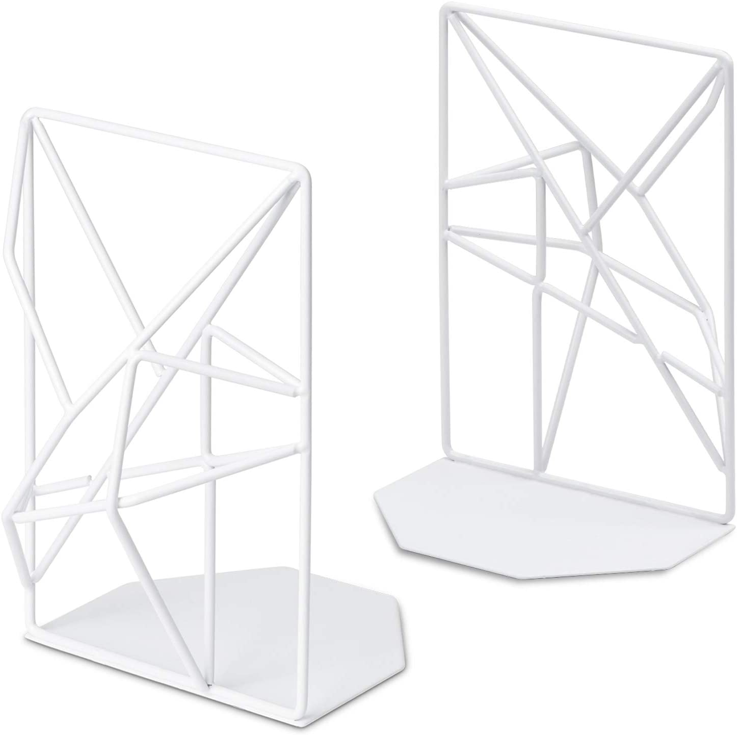 SRIWATANA Bookends White, Decorative Metal Book Ends Supports for Shelves, Unique Geometric Design(1 Pair/2 Pieces)