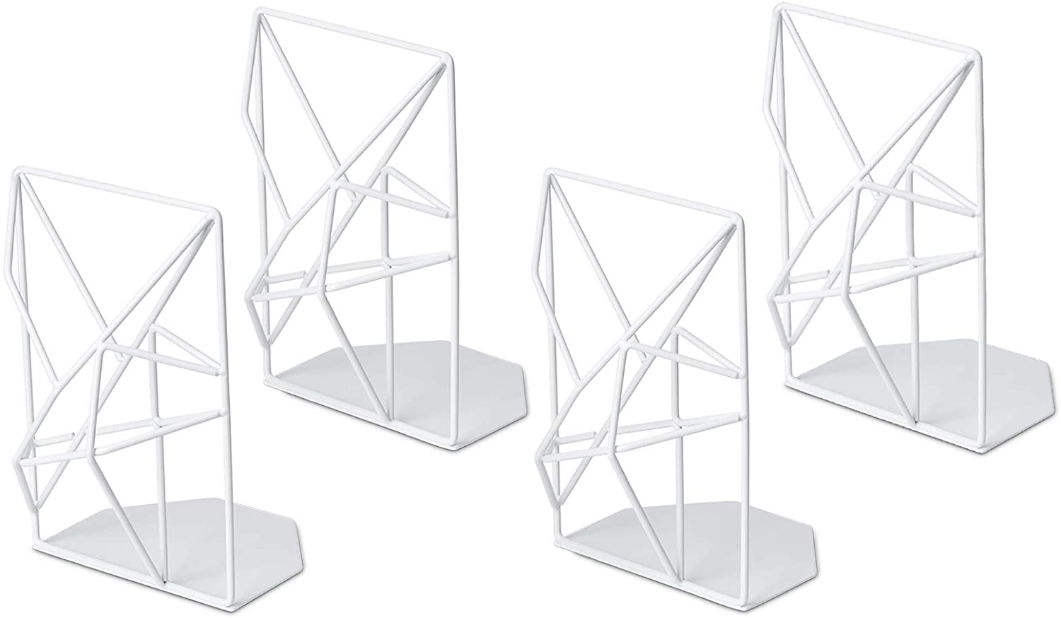SRIWATANA Book Ends White, Decorative Metal Bookends for Shelves, Unique Geometric Design(2 Pairs/4 Pieces)
